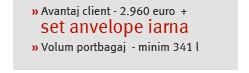 » Avantaj client - 2.960 euro  +  set anvelope iarna» Volum portbagaj  - minim 341 l