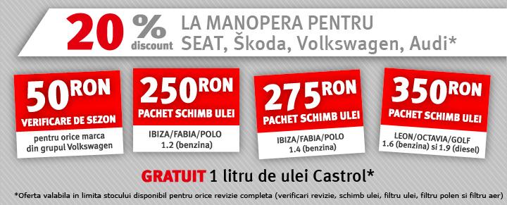 20% la manopera pentru Seat, Skoda, Volkswagen, Audi