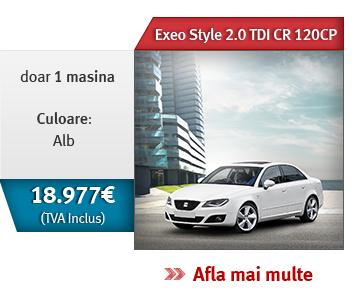 Exeo Style 2.0 TDI CR 120CP! Doar 1 maina, culoare alb. 18.977 € (TVA inclus)