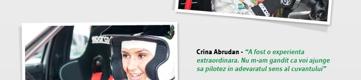 """Crina Abrudan - """"A fost o experienta extraordinara. Nu m-am gandit ca voi ajunge sa pilotez in adevaratul sens al cuvantului"""""""